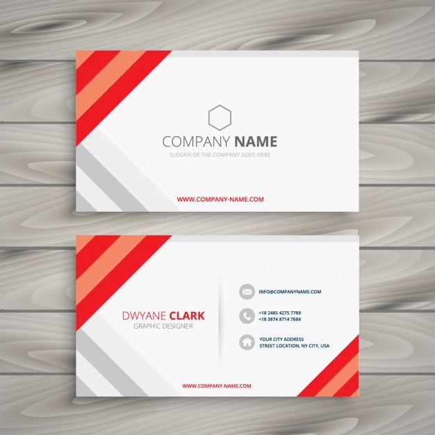 White red business card template vector free download for Red business card template