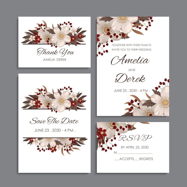 White and red floral background wedding set Free Vector