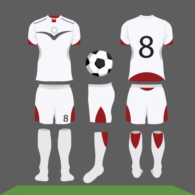 White and red football kit Free Vector