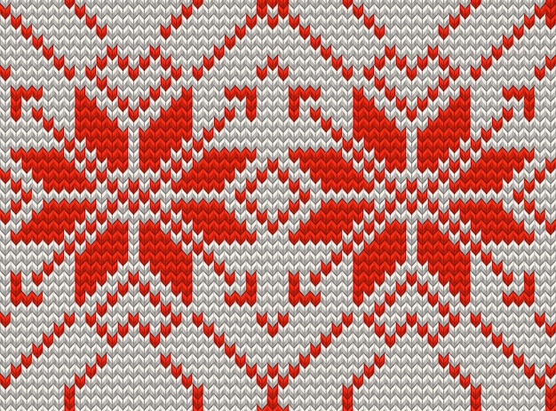 White and red holiday seamless pattern with cross stitch embroidered happy new year ornament. christmas template endless  for package, web sites, textile. and also includes Premium Vector