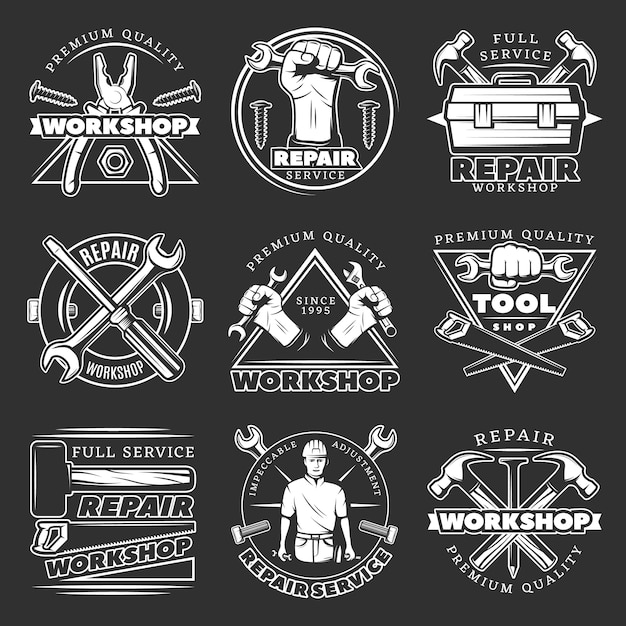 White repair workshop badge set Free Vector