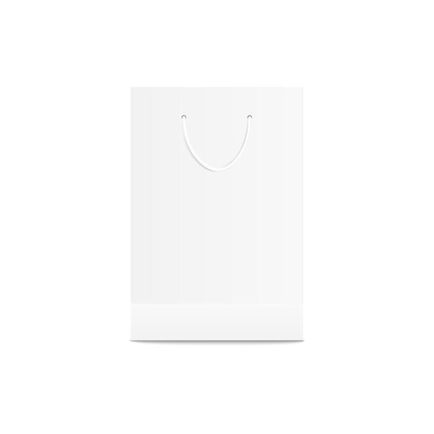 白い小売買い物袋。小売店の紙の包装、ショップの商品や製品のブランディングのための空の空のテンプレート Premiumベクター