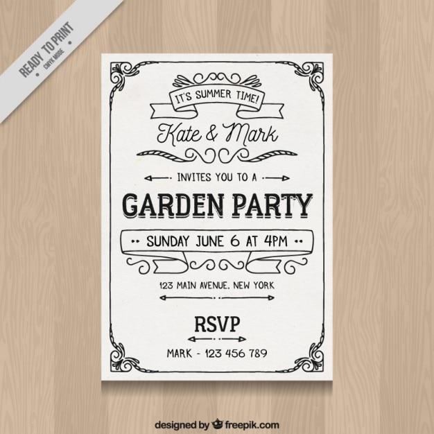 White retro garden party invitation vector free download white retro garden party invitation free vector stopboris Choice Image