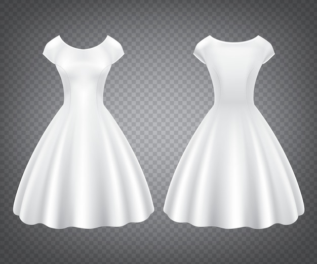White retro woman dress for wedding or party Free Vector