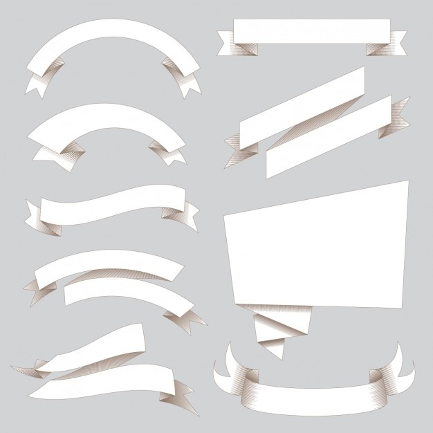 White ribbons collection Free Vector