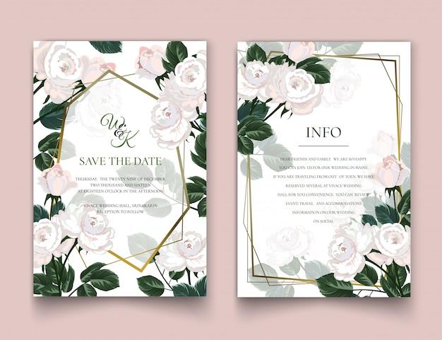 The white roses invitation cards. Premium Vector