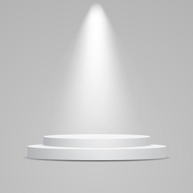 White round podium illuminated with light.   pedestal for product presentation. Premium Vector