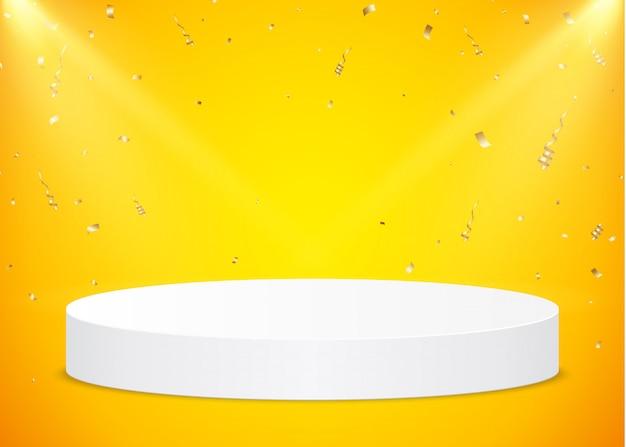 스포트 라이트와 노란색 배경에 골드 색종이와 흰색 라운드 연단. 제품 프리젠 테이션을위한 받침대. 프리미엄 벡터