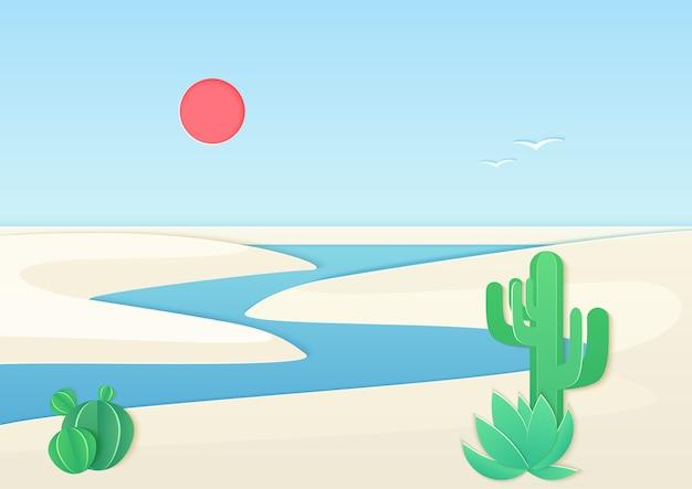 Белый песок пустыни пейзаж с рекой оазис Premium векторы