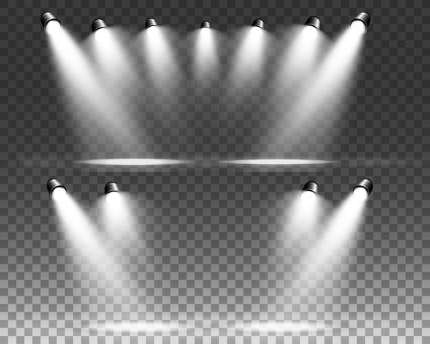 White scene on with spotlights.  illustration. Premium Vector