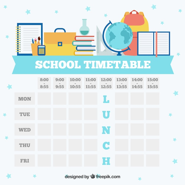 White School Timetable Template Vector  Free Download