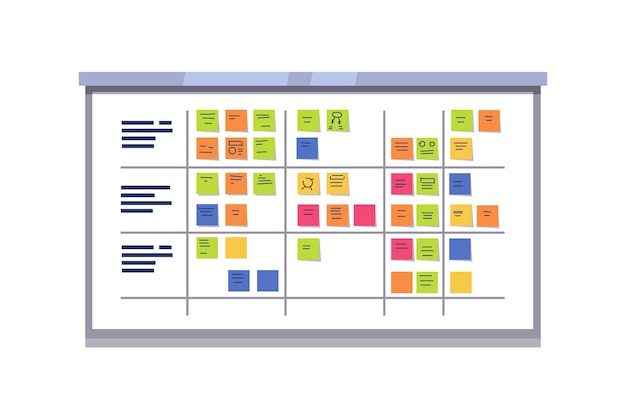 White scrum board full of tasks on sticky cards Free Vector