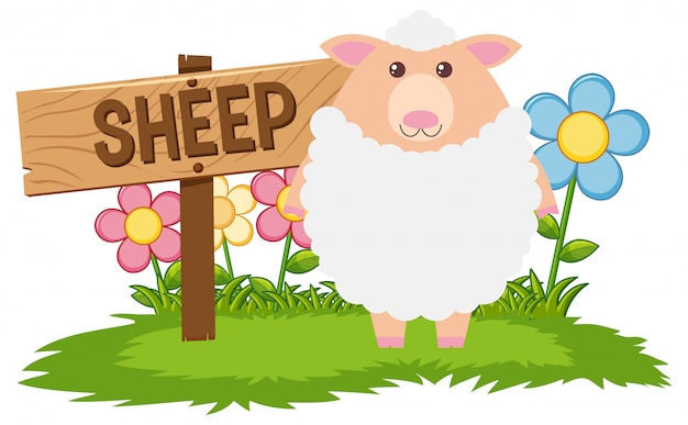 White sheep in the farm Free Vector