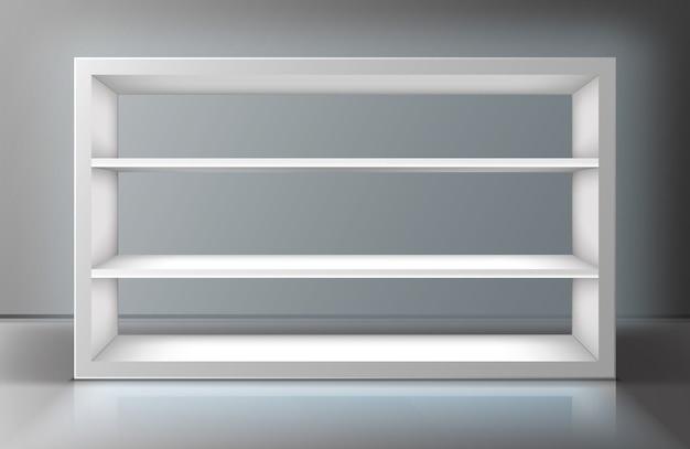 Белая витрина с полками в магазине Бесплатные векторы