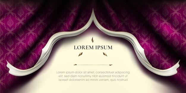 Белые гладкие рваные края завитков на волнистой фиолетовой шелковой ткани занавески с тайским узором Premium векторы