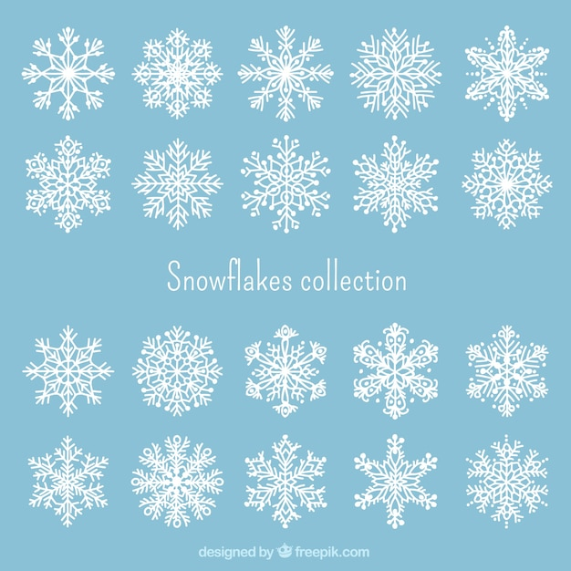 white snowflakes collection free vector