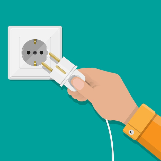 White socket and hand with plug Premium Vector