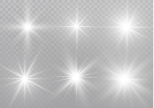 White sparks glitter special light effect. sparkles on transparent background. sparkling magic dust particles. Premium Vector