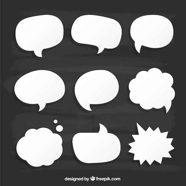 White speech bubbles on cardboard Premium Vector