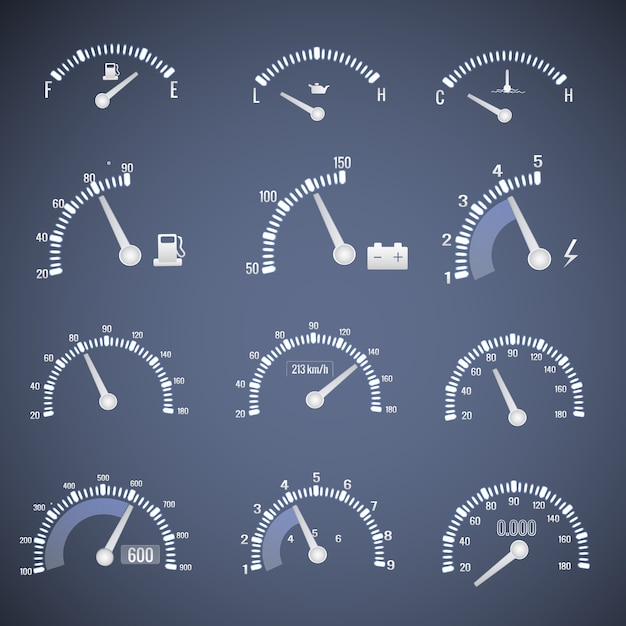 Белый значок интерфейса спидометра с циферблатами, показывающими уровень мазута и скорость векторные иллюстрации Бесплатные векторы