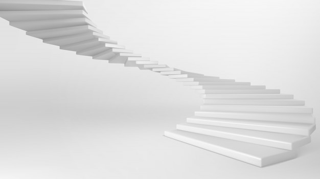 White spiral staircase with concrete steps Free Vector