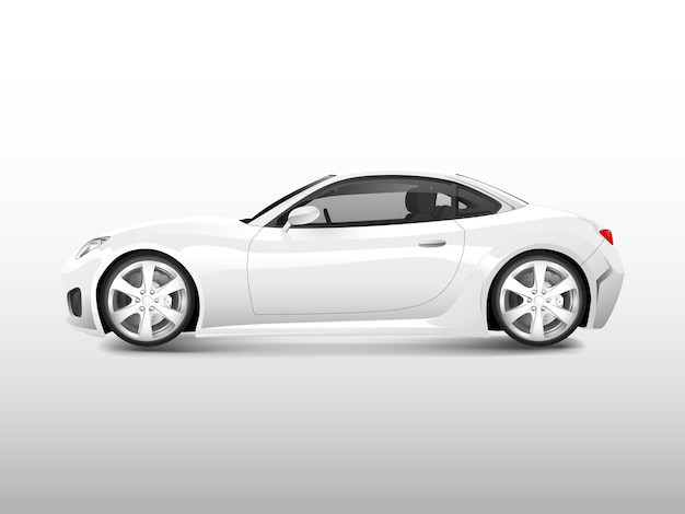 White sports car isolated on white vector Free Vector