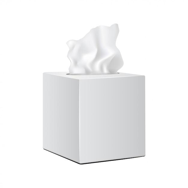 Белая квадратная коробка с бумажными салфетками. реалистичная вектор макет упаковки Premium векторы