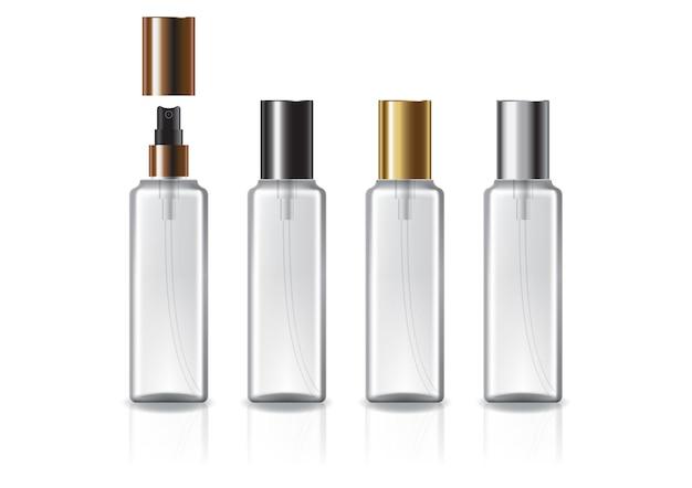 미용 또는 건강 제품을위한 4 색 스프레이 및 일반 뚜껑이있는 흰색 사각형 화장품 병. 프리미엄 벡터