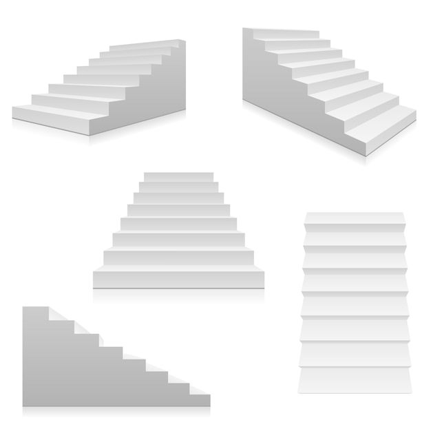 White stairs 3d interior staircases isolated Premium Vector