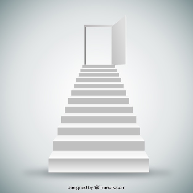 White stairs and door Premium Vector
