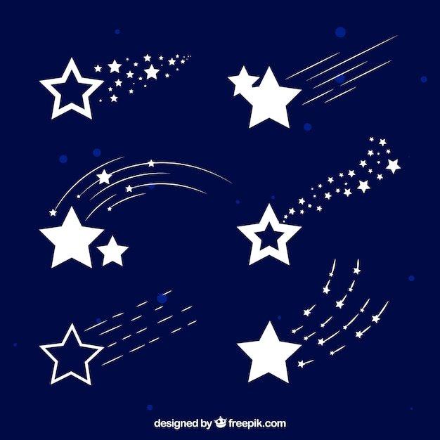 White star trail pack Free Vector