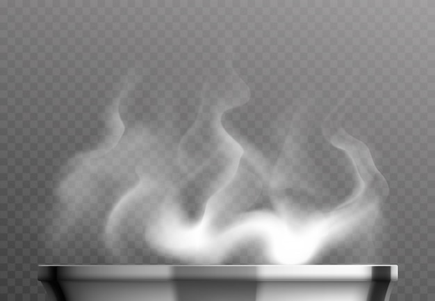 White steam over pan realistic design concept on transparent background Free Vector