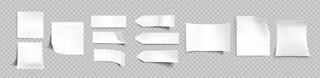White stickers of different shapes with shadow and folded edges, tags, sticky notes for memo mockup isolated on a transparent background. paper adhesive tape, empty blanks realistic 3d vector set Free Vector