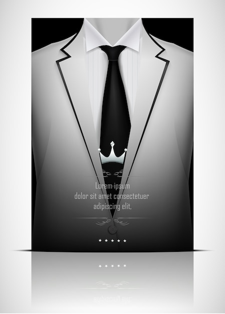 White suit and tuxedo with black tie Premium Vector