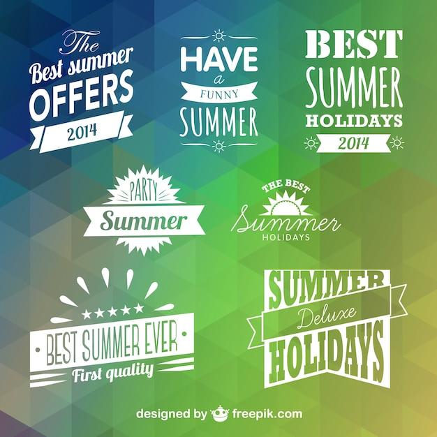 White summer holidays badges Premium Vector