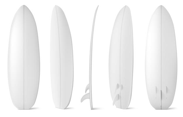흰색 서핑 보드 전면, 측면 및 후면보기. 여름 해변 활동, 바다 파도에 서핑에 대 한 빈 긴 보드의 현실. 레저 스포츠 장비는 흰색 배경에 고립 무료 벡터