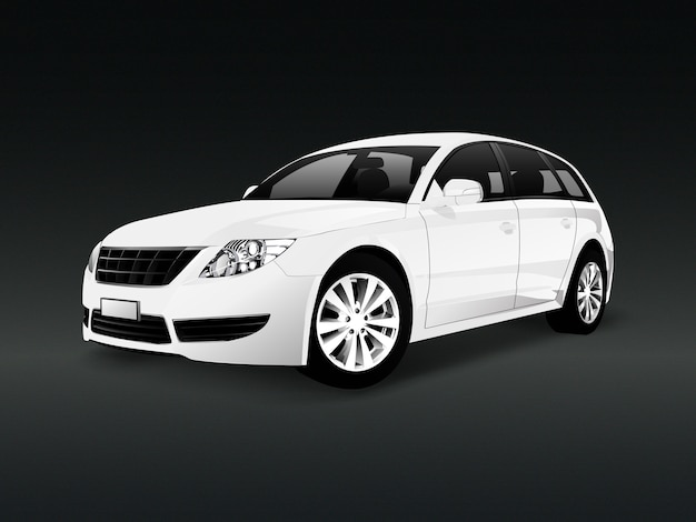 White suv car in a black background vector Free Vector