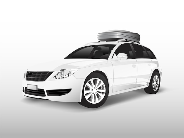 White suv with a roof storage box Free Vector