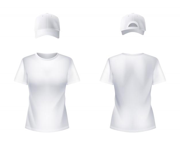 リアルな白いtシャツと野球帽の男 無料ベクター