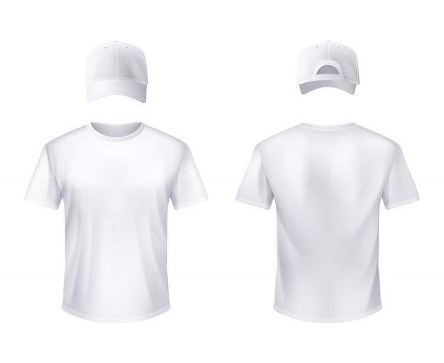 White t-shirt and baseball cap man realistic Free Vector