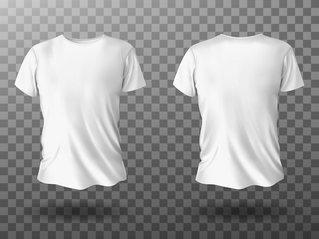 White t-shirt mockup, t shirt with short sleeves Free Vector