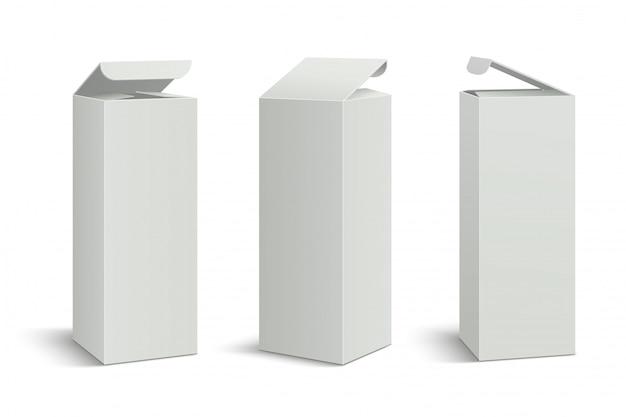 Белый высокий пакет. 3d коробки макет, косметическая медицина прямоугольная картонная упаковка. Premium векторы