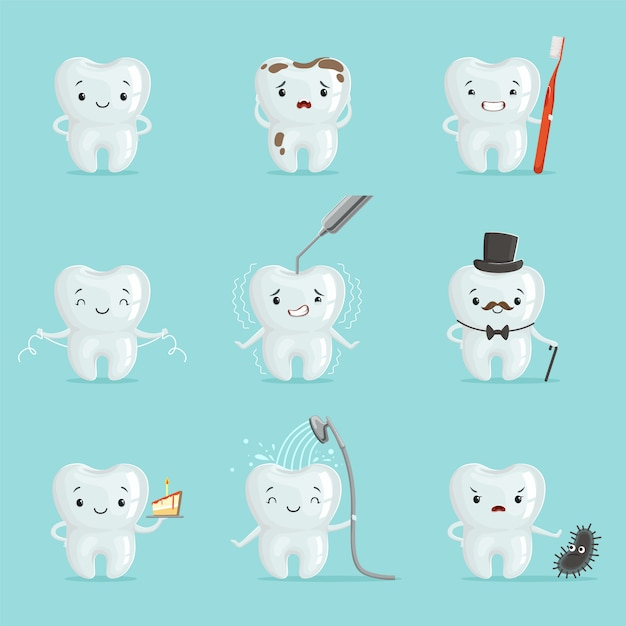 White teeth with different emotions set for  . cartoon detailed illustrations Premium Vector