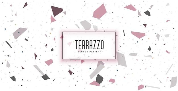 白いテラゾ床タイルパターンテクスチャ背景デザイン 無料ベクター
