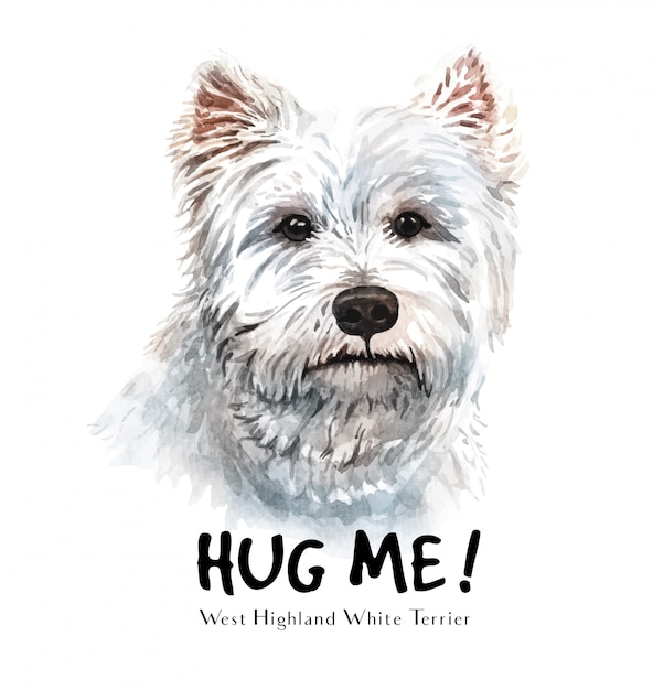 White terrier dog watercolor for printing. Premium Vector