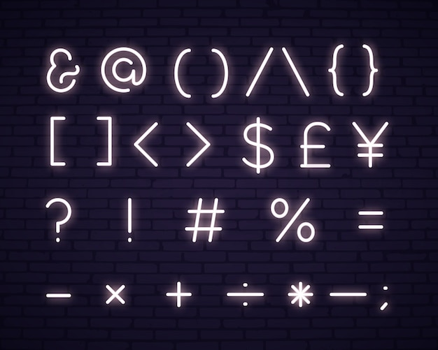 White text symbols neon sign Free Vector