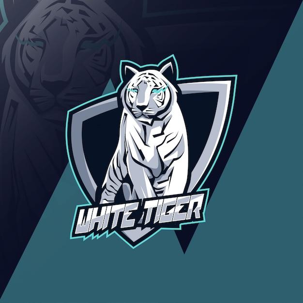 White tiger mascot logo esport design Premium Vector