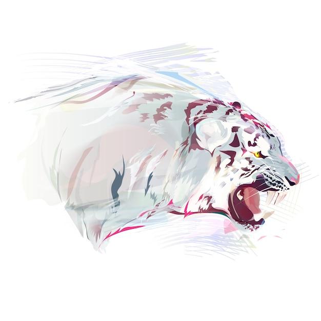 White tiger, watercolor illustration | Premium Vector