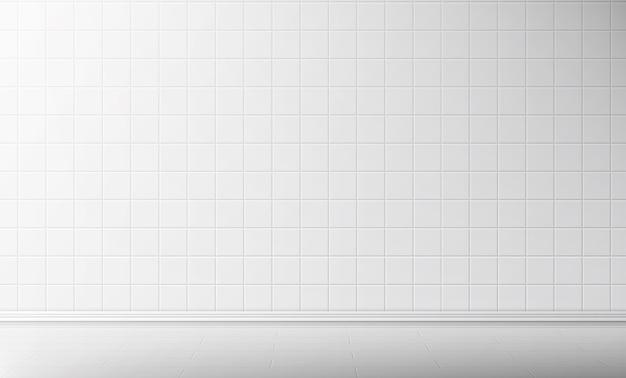 욕실 배경에서 흰색 타일 벽과 바닥 무료 벡터