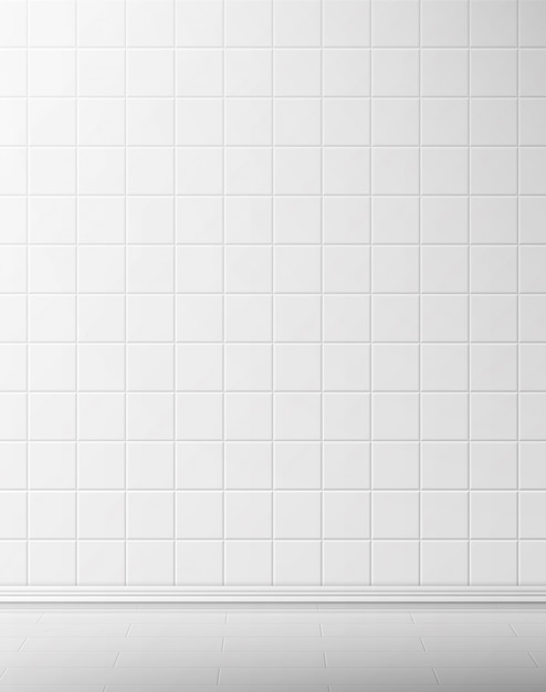 White tile wall and floor in bathroom Free Vector